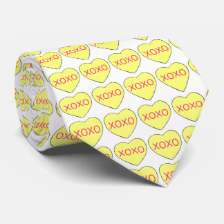 Valentine's Day XOXO Yellow Candy Hearts Love Neck Tie