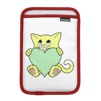 Valentine's Day Yellow Cat with Light Green Heart Sleeve For iPad Mini
