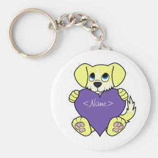 Valentine's Day Yellow Dog - Blaze & Purple Heart Keychain
