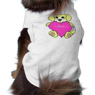 Valentine's Day Yellow Dog with Blaze & Pink Heart Shirt