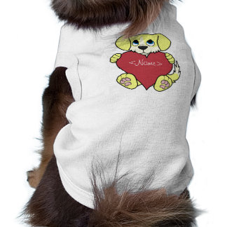Valentine's Day Yellow Dog with Blaze & Red Heart Shirt