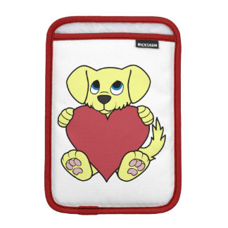 Valentine's Day Yellow Dog with Red Heart iPad Mini Sleeve