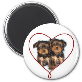 Valentine's Day Yorkie Round magnet