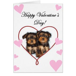 Valentine's Day Yorkshire terrier card