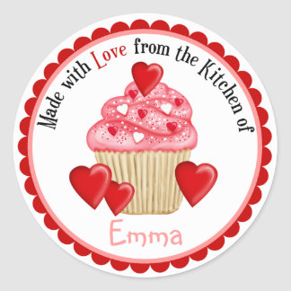 Valentines DayHeart Cupcakes Stickers
