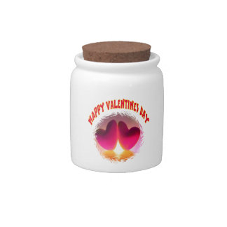 Valentines double hearts Candy Jar 10oz.