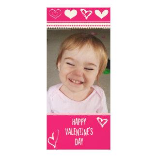 Valentines Drawn Hearts Photo Custom Rack Cards