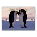Valentines emperor penquins kissing card