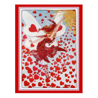 Valentine's Fairy Sending Out Love & Hearts Postcard