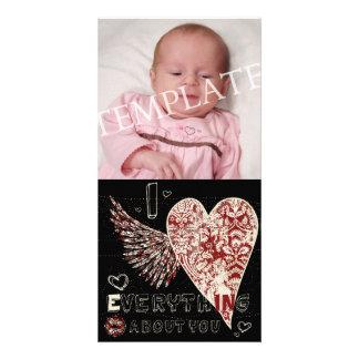 Valentines Fleur Heart Photocard. Photo Card