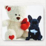 Valentine's French Bulldog puppy mousepad