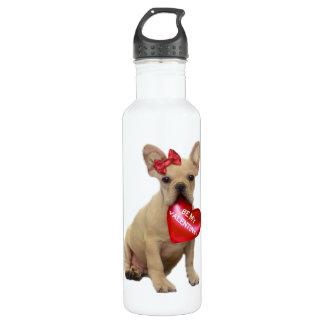 Valentine's French bulldog puppy Water Bottle