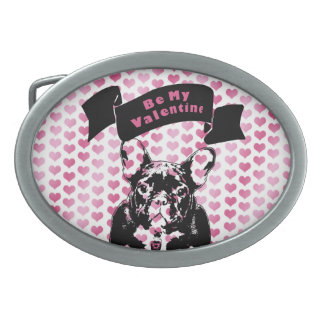 Valentines - french Bulldog Silhouette Oval Belt Buckles