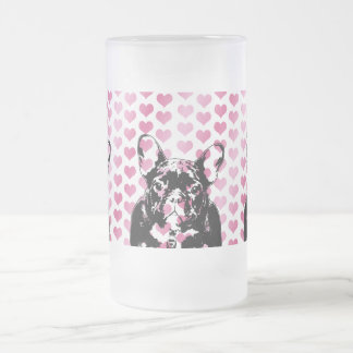 Valentines - french Bulldog Silhouette Beer Mug