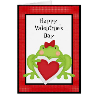 Valentines Frog Holiday Greeting card