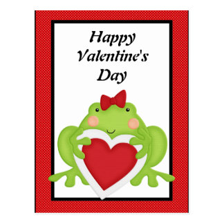 Valentines frog holiday greeting postcard