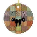 Valentine's funny  love cat couple patchwork Double-Sided ceramic round christmas ornament