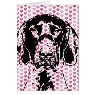 Valentines German Shorthair Pointer Dog Silhouette Card