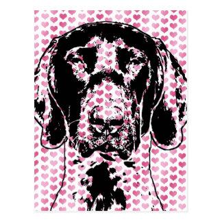 Valentines German Shorthair Pointer Dog Silhouette Post Card