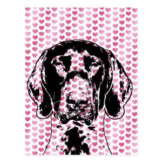Valentines German Shorthair Pointer Dog Silhouette Postcard