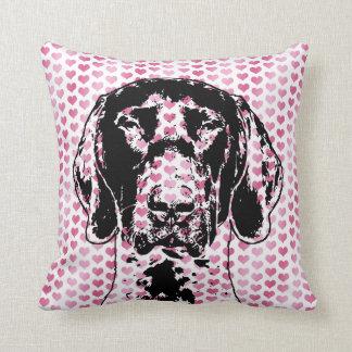 Valentines German Shorthair Pointer Dog Silhouette Throw Pillow