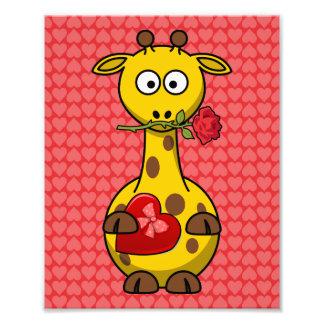 Valentine's Giraffe Cute Cartoon Photo Print