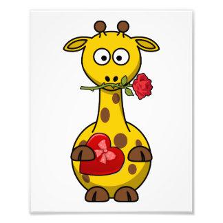 Valentine's Giraffe With Rose Photo Print