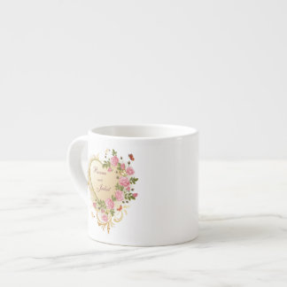 Valentines - Gold Striped Heart with Roses Espresso Cup