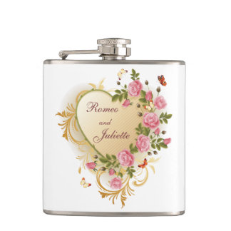 Valentines - Gold Striped Heart with Roses Flask