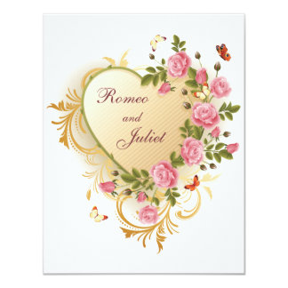 Valentines - Gold Striped Heart with Roses Custom Announcement