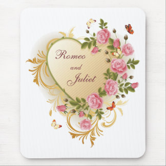 Valentines - Gold Striped Heart with Roses Mouse Pad