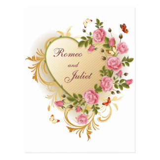 Valentines - Gold Striped Heart with Roses Postcard
