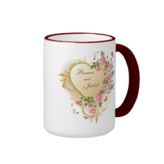 Valentines - Gold Striped Heart with Roses Ringer Mug