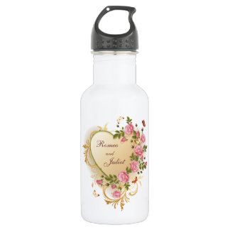 Valentines - Gold Striped Heart with Roses Stainless Steel Water Bottle