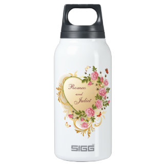 Valentines - Gold Striped Heart with Roses Thermos Bottle