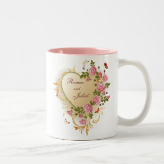 Valentines - Gold Striped Heart with Roses Two-Tone Coffee Mug