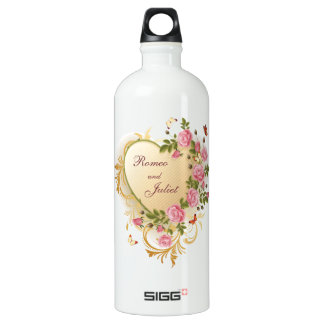 Valentines - Gold Striped Heart with Roses Water Bottle