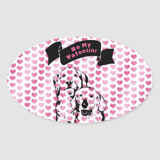 Valentines - Golden Retrievers Silhouette Oval Stickers