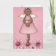 Valentine's Day Greeting Card with adorable dark skin angel and pink flowers and a pink butterfly inside.