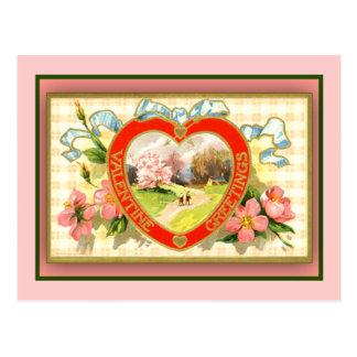 Valentine's Greeting Cards Pastoral Scene Postcard