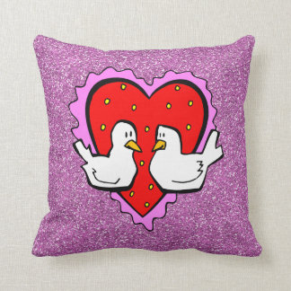 Valentines Heart And Love Birds Faux Glitter Throw Pillow