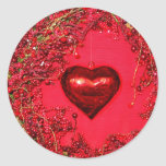 Valentines Heart and Wreath Round Stickers