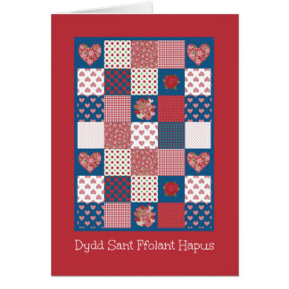 Valentine's Hearts and Roses, Welsh Greeting Card