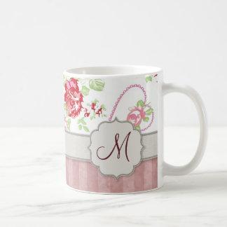 Valentines - Hearts, Roses and Stripes w Monogram Coffee Mug