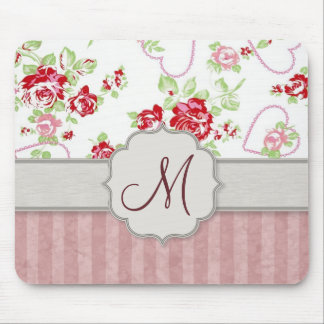 Valentines - Hearts, Roses and Stripes w Monogram Mouse Pad