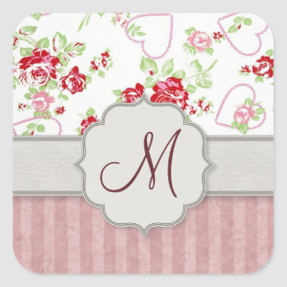 Valentines - Hearts, Roses and Stripes w Monogram Square Stickers