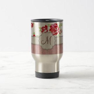Valentines - Hearts, Roses and Stripes w Monogram Travel Mug