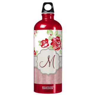 Valentines - Hearts, Roses and Stripes w Monogram Water Bottle
