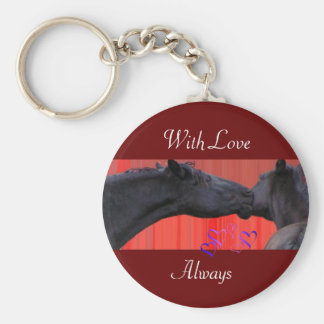 Valentine's Horses, customizable Basic Round Button Keychain