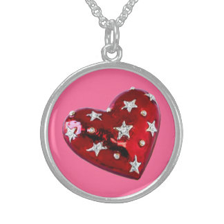 Valentine's Jeweled Heart Sterling Silver Necklace